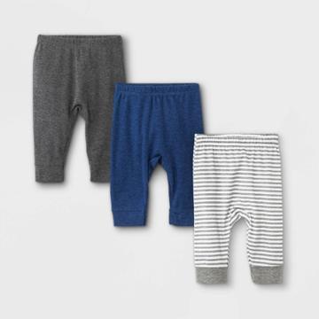 Baby Boys' 3pk Basic Jogger Pull-on Pants - Cloud Island Navy 3-6m, Blue/blue