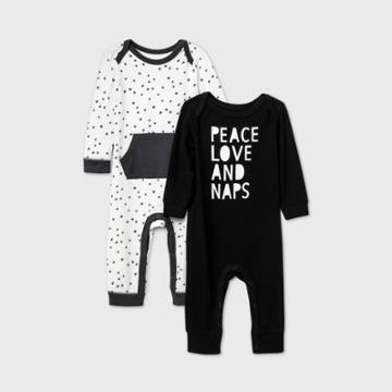Baby Boys' 2pk 'peace Love Naps' Long Sleeve Romper - Cat & Jack Black/white Newborn