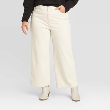 Women's Plus Size High-rise Wide Leg Cropped Jeans - Universal Thread Cream 14w, Women's, Beige
