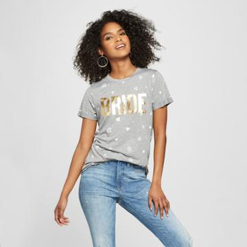 Modern Lux Women's Short Sleeve Bride Gold Foil Diamond Print T-shirt - Modern
