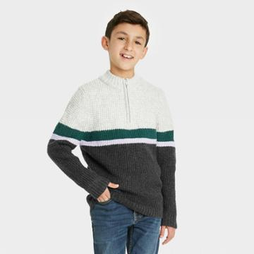 Boys' Cozy Mock Neck Zip-up Pullover Sweater - Cat & Jack Gray/blue