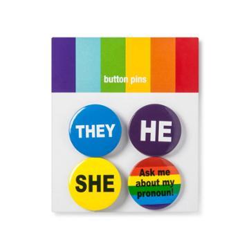 Concept One Pride Preferred Pronoun Buttons,