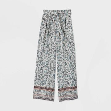 Girls' Floral Paperbag Pants - Art Class White L, Girl's,
