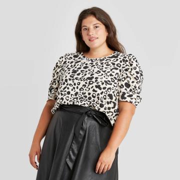 Women's Leopard Print 3/4 Ruffle Sleeve Sweatshirt - Who What Wear Pink