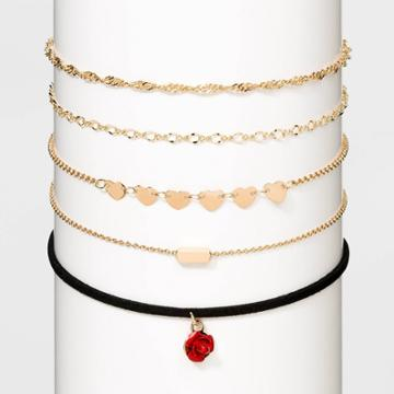 Flower Charm And Chain Choker Necklace Set - Wild Fable Gold, Women's