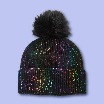 Girls' Beanie Hat With Pom - More Than Magic Black, Girl's