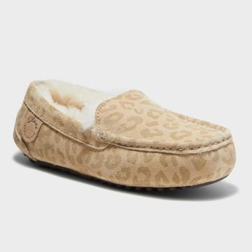Women's Dluxe By Dearfoams Fernie Leopard Genuine Shearling Moccasin Slippers - Brown