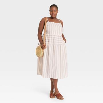 Women's Plus Size Striped Tiered Tank Dress - Universal Thread Cream
