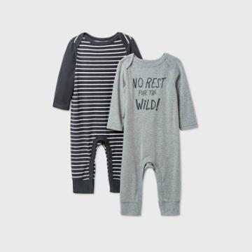 Baby Boys' 2pk 'no Rest For The Wild' Long Sleeve Romper - Cat & Jack Gray