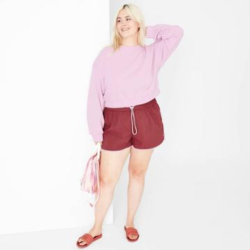 Women's Plus Size Woven Dolphin Shorts - Wild Fable Burgundy