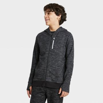 Boys' French Terry Full Zip Hoodie - All In Motion Black Heather Xs, Boy's, Black Grey