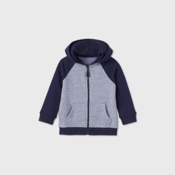 Toddler Boys' Fleece Zip-up Hoodie Sweatshirt - Cat & Jack Navy