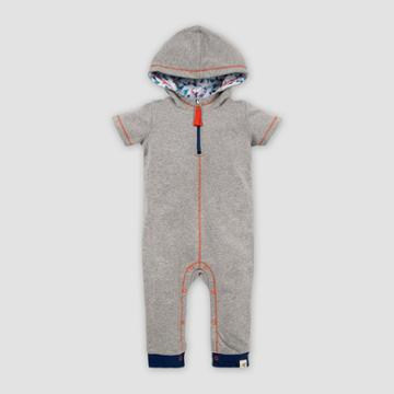 Burt's Bees Baby Baby Organic Cotton French Terry Hooded Zip Front Jumpsuit - Heather Gray