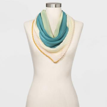 Women's Pleated Square Scarf - A New Day Blue, Women's,