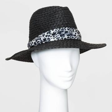 Women's Printed Band Fedora - A New Day Black One Size, Women's
