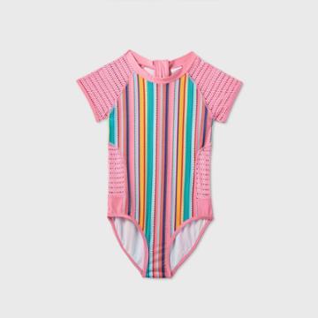 Girls' Short Sleeve Vertical Stripe Mesh One Piece Swimsuit - Art Class Pink