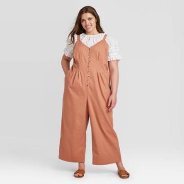 Women's Plus Size Sleeveless Button-front Jumpsuit - Universal Thread Brown