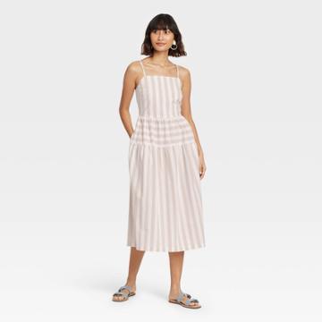 Women's Striped Tiered Tank Dress - Universal Thread Cream