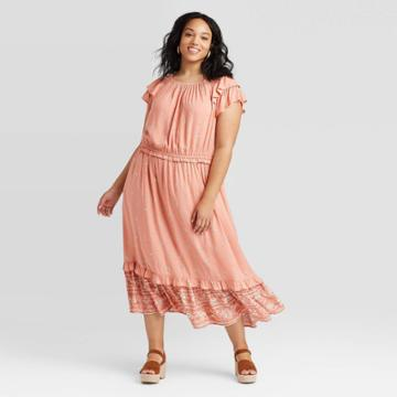 Women's Plus Size Floral Print Short Sleeve Ruffle Dress - Universal Thread Pink 1x, Women's,