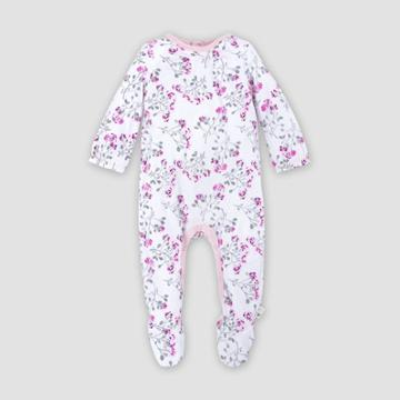 Burt's Bees Baby Baby Girls' Organic Cotton Mosaic Bloom Jumpsuit - Purple Newborn, Girl's, Beige
