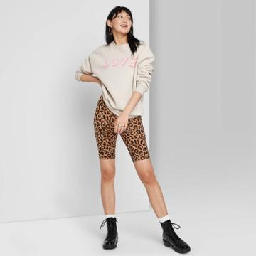 Women's High-rise Bike Shorts - Wild Fable Tan Animal Print