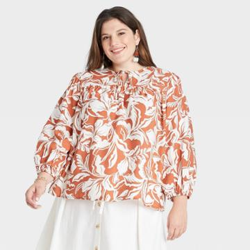 Women's Plus Size Long Sleeve Blouse - A New Day Dark Orange Floral