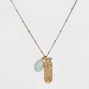Semi-precious Amazonite Scarab Charm And Textured Pendant Necklace - Universal Thread Mint, Women's, Green
