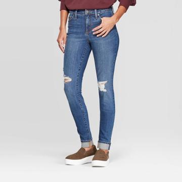 Women's Cuffed High-rise Distressed Skinny Jeans - Universal Thread Medium Blue