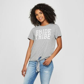 Modern Lux Women's Short Sleeve Bride Tribe Tie Front Graphic T-shirt - Modern