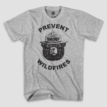 Smokey Bear Men's Wild Fires Short Sleeve Graphic T-shirt - Heather Gray S, Men's,