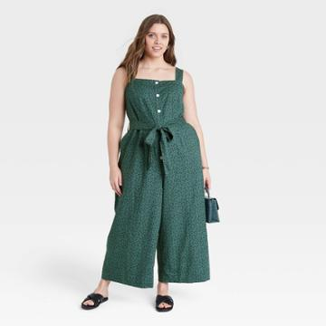 Women's Plus Size Sleeveless Button-front Jumpsuit - A New Day Teal