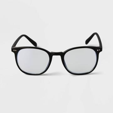 Men's Square Blue Light Filtering Reading Glasses - Goodfellow & Co Black