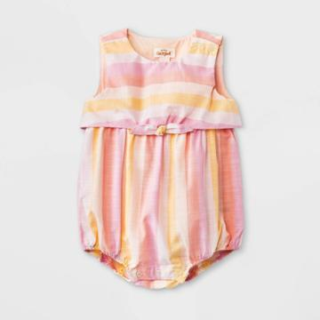Baby Girls' Striped Poplin Elevated Romper - Cat & Jack Light Pink Newborn
