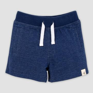 Burt's Bees Baby Baby Boys' Organic Cotton Two-tone French Terry Pull-on Shorts - Dark Blue