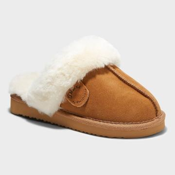Kids' Dluxe By Dearfoams Whistler Genuine Shearling Scuff Slippers - Dark Chestnut