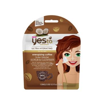 Yes To Coconut Energizing Coffee 3-in-1 Mask Scrub Cleanser Single Use Facial Cleanser