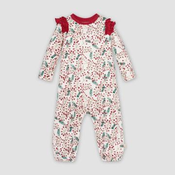 Burt's Bees Baby Baby Girls' Organic Cotton Very Berry Holiday Jumpsuit - Red/white