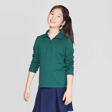 Girls' Long Sleeve Interlock Polo Shirt - Cat & Jack Green