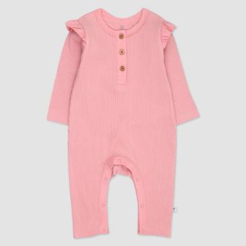 Honest Baby Girls' Organic Cotton Flutter Long Sleeve Henley Coveralls - Pink