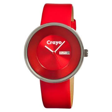 Women's Crayo Button Watch With Day And Date Display - Red,