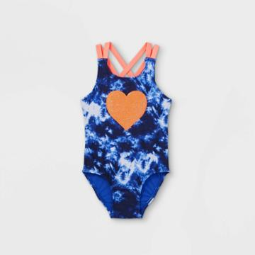 Toddler Girls' Tie-dye Sequin Heart One Piece Swimsuit - Cat & Jack Blue/pink