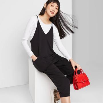 Women's Sleeveless V-neck Knit Jumpsuit - Wild Fable Black