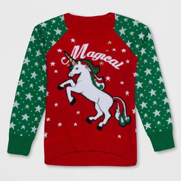 Well Worn Girls' Magical Unicorn Christmas Sweater - Red/green