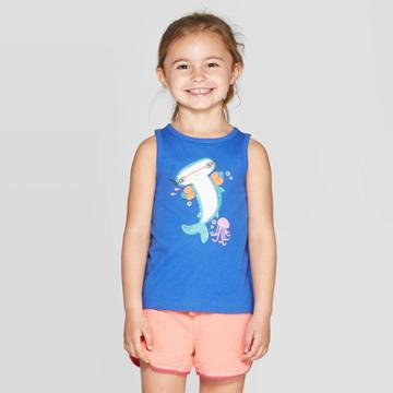 Toddler Girls' 'sharks' Graphic Tank Top - Cat & Jack Blue