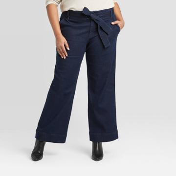Women's Plus Size Belted Denim Wide Leg Pants - A New Day Dark Wash 14w, Women's, Blue