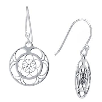 Target Sterling Silver Circle Filigree Drop Earrings - Silver, Infant Girl's, Size: L: