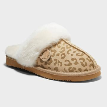 Women's Dluxe By Dearfoams Kimberly Leopard Genuine Shearling Scuff Slippers - Brown