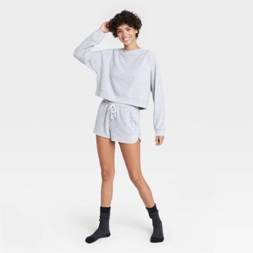 Women's Reverse Fleece Lounge Sweatshirt - Colsie Gray