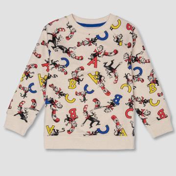 Toddler Boys' Dr. Seuss Cat In The Hat Sweatshirt - Cream