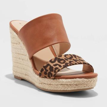 Women's Adelina Microsuede Leopard Print Two Band Espadrille Wedge Pumps - A New Day Brown